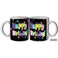 (B480) Happy Birthday! madárkás – Születésnapi bögre – Születésnapi ajándék