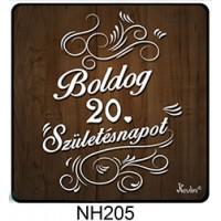 (NH205) Fa mintás Boldog 20. Születésnapot! - Hűtőmágnes – Születésnapi Ajándék