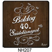 (NH207) Fa mintás Boldog 40. Születésnapot! - Hűtőmágnes – Születésnapi Ajándék
